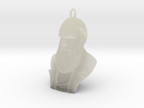 "Charles Darwin 1"" Bust, Pendant, Ear Ring, Charm,  in Transparent Acrylic"