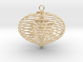 Spiral christmas ball with snowflake in 14K Yellow Gold