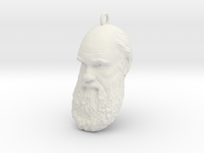 "Charles Darwin 1"" Head, Pendant, Ear Ring, Charm,  in White Natural Versatile Plastic"