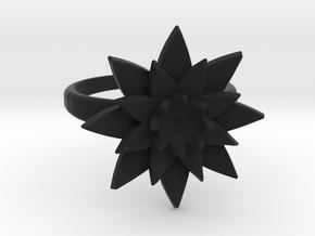 Lotus Ring in Black Natural Versatile Plastic