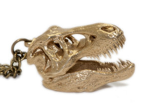 Tyrannosaurus rex pendant 25mm with loop in Natural Brass