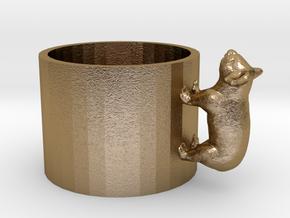 Small Koala Cup-porcelain Shapeways Test in Polished Gold Steel