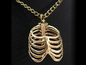 Ribcage Pendant or Finger Ring - 17mm ID in Natural Brass