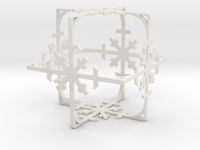 Snowflake Cube (Christmas Tree bauble?) in White Natural Versatile Plastic