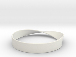 Möbius Bracelet Bangle in White Natural Versatile Plastic: Medium