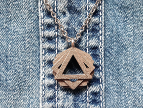 """""""GONS"""" Geometric Pendant in Polished Bronzed Silver Steel"""