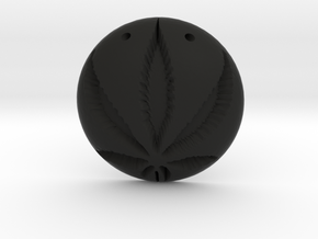 Cannabis Pendant in Black Natural Versatile Plastic