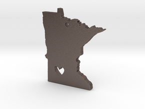I Love Minnesota Pendant in Polished Bronzed Silver Steel