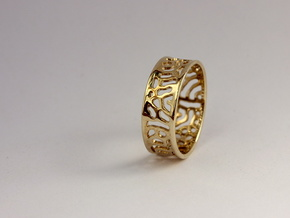 Lattice ring size 7 in Polished Brass