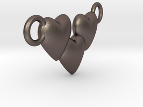 Love Three Hearts (Big Size Pendant) in Polished Bronzed Silver Steel
