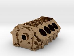 V8 Engine Block in Natural Brass