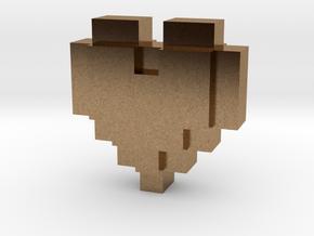 bitc Pixel Heart in Natural Brass