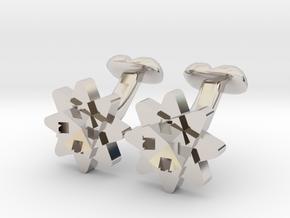 Cufflink Flower Range Geo-flower in Platinum