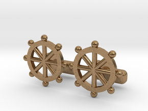 Ship Helm Cufflinks, Part of the NEW Nautical Coll in Natural Brass