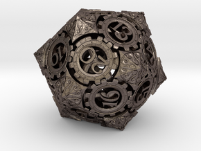Steampunk D20 (Spindown) in Polished Bronzed Silver Steel