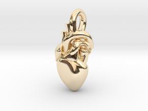 Beautiful Human Heart Pendant in 14K Yellow Gold