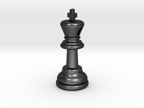 PENDANT :  CHESS KING (small - 35mm) in Polished Grey Steel
