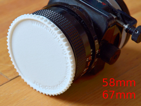 Double threaded lens cap: 67 and 58 mm in White Natural Versatile Plastic