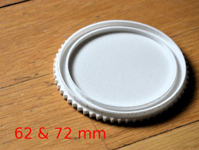 Double threaded lens cap: 72 and 62 mm in White Natural Versatile Plastic