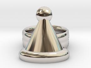 Santa Hat Ring 22x22 mm in Platinum