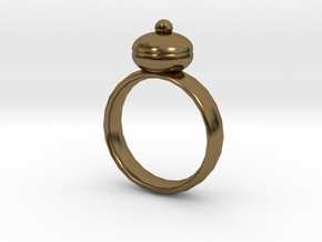 Plum Pudding Ring 22x22mm in Polished Bronze
