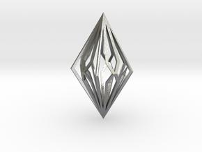 Diamond Pendant mk2 in Natural Silver