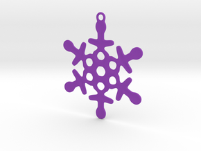 Ornament, Snowflake 003 in Purple Processed Versatile Plastic