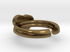 Hearts Ring 20x20mm inner diameter in Polished Bronze