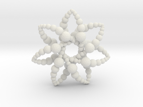 Bubble Star 7 Points - 4cm in White Natural Versatile Plastic