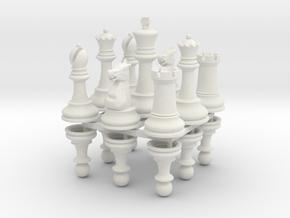 StauntonChessSet OneSide Joined in White Natural Versatile Plastic