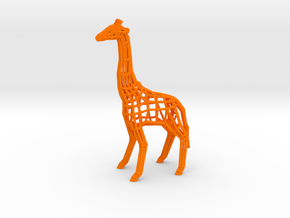 Low Poly Wireframe Giraffe [10cm Tall] in Orange Processed Versatile Plastic