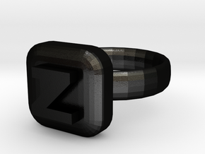 Zorro Ring 22x22mm in Matte Black Steel