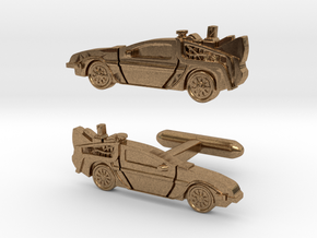 Back to the Future's Delorean: cufflinks in Natural Brass