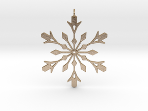 Snowflake Holiday Decor - Tree Ornament in Polished Gold Steel