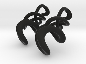 Tumbling Loops Earrings - Small in Black Natural Versatile Plastic