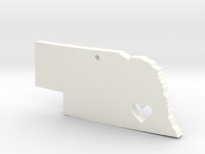 I Love Nebraska Pendant in White Processed Versatile Plastic