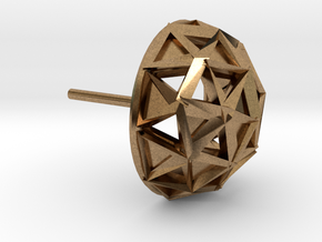 Icosphere Stud Earring in Natural Brass