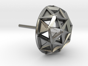 Icosphere Stud Earring in Natural Silver