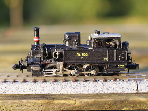 DSB F class N scale (with no tender extension) in Natural Brass