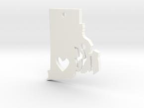 I Love Rhode Island Necklace in White Processed Versatile Plastic