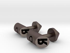 Cufflinks - Initials 2 in Polished Bronzed Silver Steel