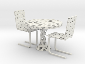 Voronoi Organic Chair and Table Set in White Natural Versatile Plastic