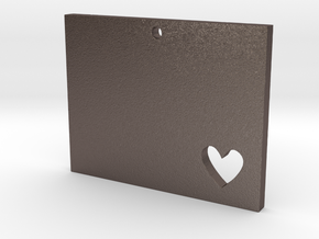 I heart Wyoming Pendant in Polished Bronzed Silver Steel