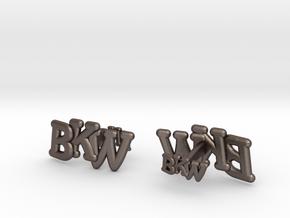 Monogram Cufflink duo in Polished Bronzed Silver Steel