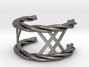 Twisted Lattice Cuff (Men) in Polished Nickel Steel