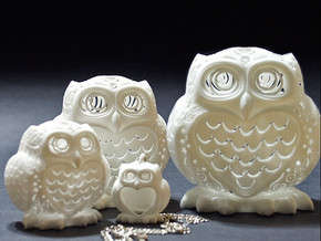 Stelliform Owl - Large Size in White Processed Versatile Plastic