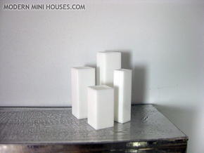 Tower Vase Collection 1:12 scale dollhouse minis in White Processed Versatile Plastic