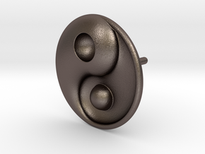Yin Yang - 6.1 - Stud Earring - Left in Polished Bronzed Silver Steel