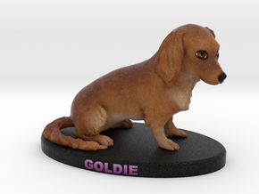 Custom Dog Figurine - Goldie in Full Color Sandstone