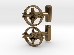 Compass Cufflinks, Part of the NEW Nautical Collec in Natural Bronze